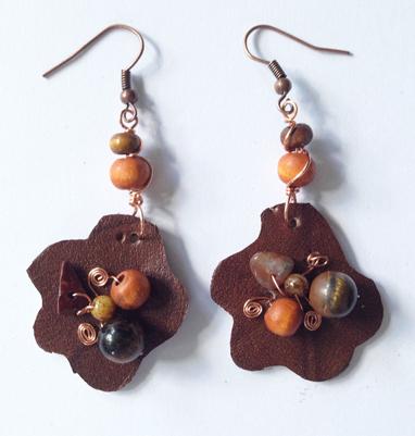 2014 Brown Leather Beaded Earrings