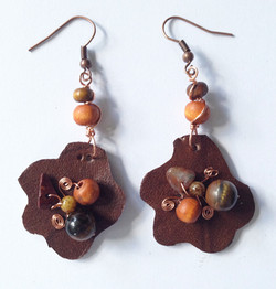 2014 Brown Leather Beaded Earrings