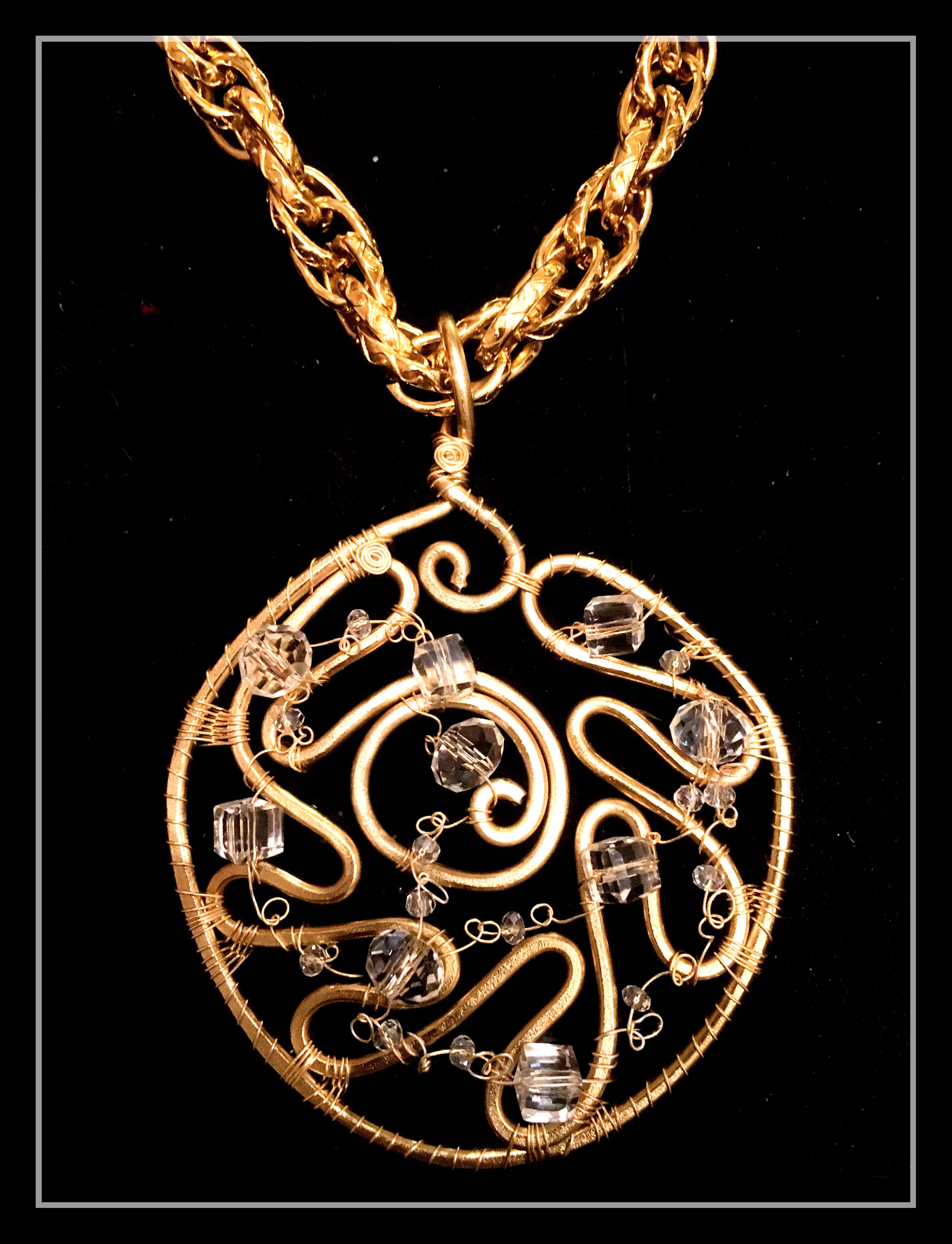 Ethereal Esther Pendant - Large Medallion - Aluminum Gold - Swarovsky