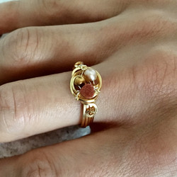 Dainty Deva Ring - gold shower heart - Silver Plated Gold Color-