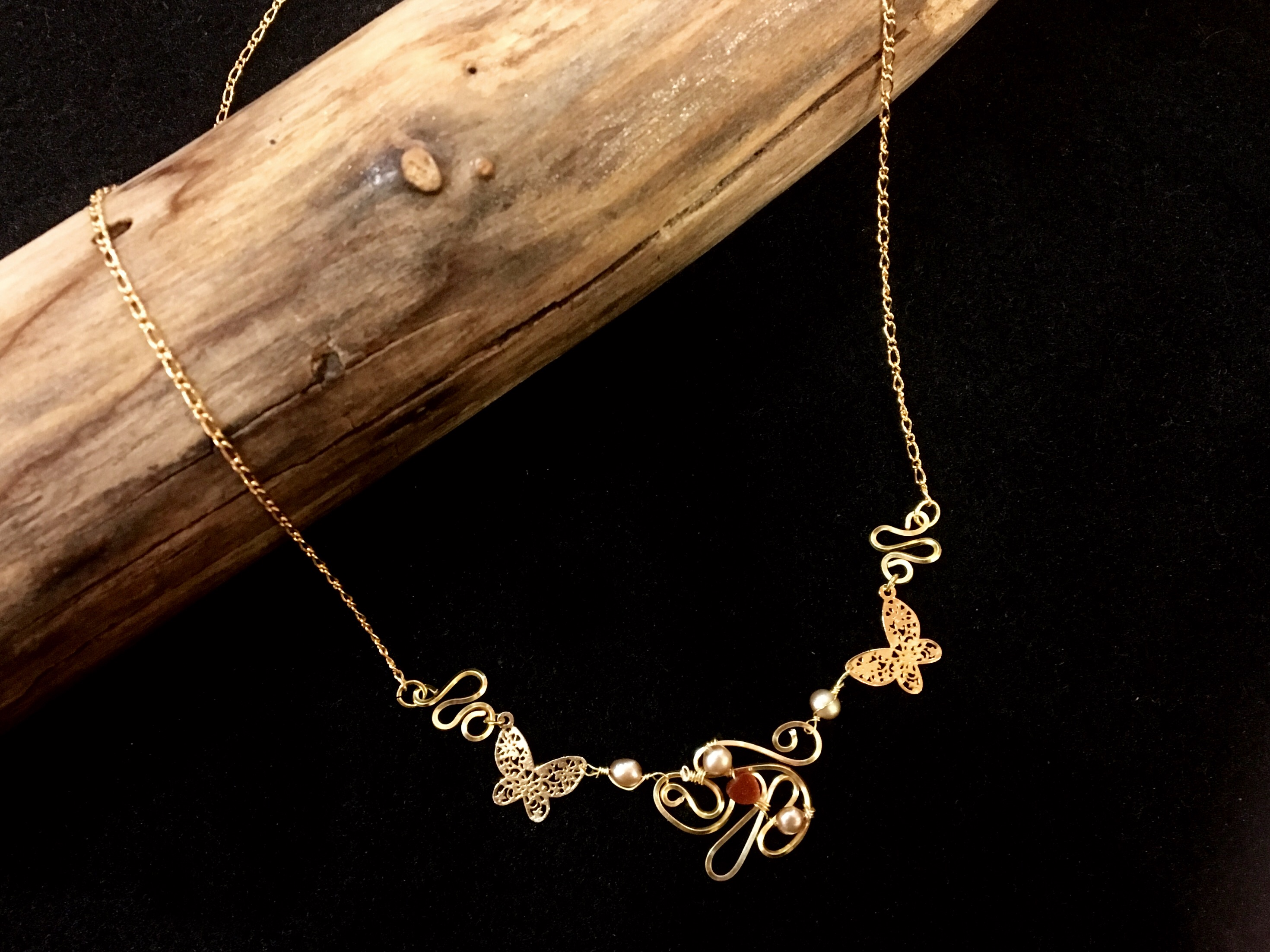 Dainty Deva Necklace - Goldfileld Butterflies - Silver Plated Gold Color