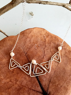 Candid Claire Necklace - Triangles - Silver Plated