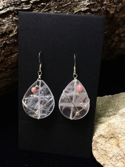 Qhresnna Quartz Earrings - Rose Quartz - Silver Plated.