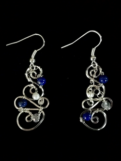 Dainty Deva Earrings - Pearls and Lapis Lazuli - Silver Plated