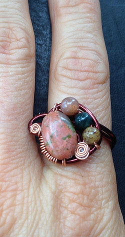 2014 Ring chocolate color Copper and beads