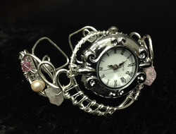 2014 Silver plated copper Watch with river pearls, swarovsky and quarz