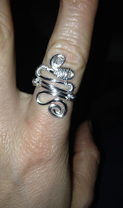 2014 Silver plated copper ring complex swirls