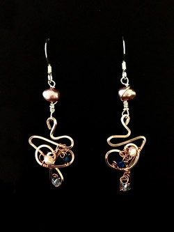 Dainty Deva Earrings - pink pearls and swarovsky - Silver Plated Rose gold Color.