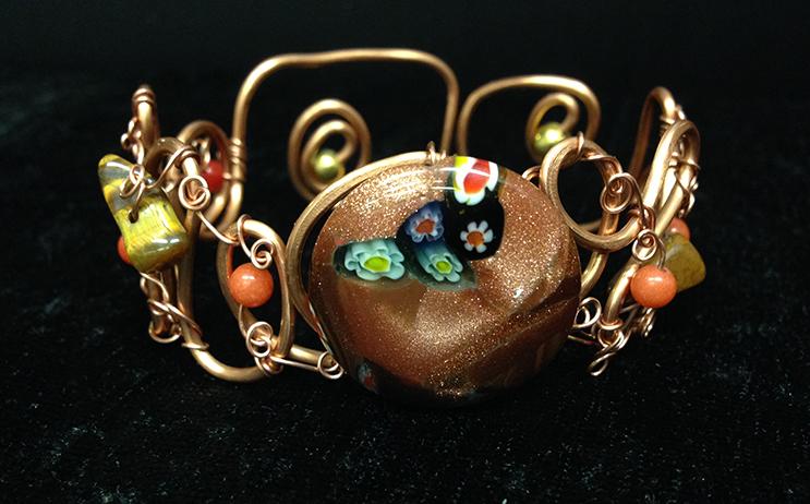2014 Copper Cuff with Glass bead