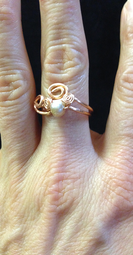 2014 Copper ring with small river pearl