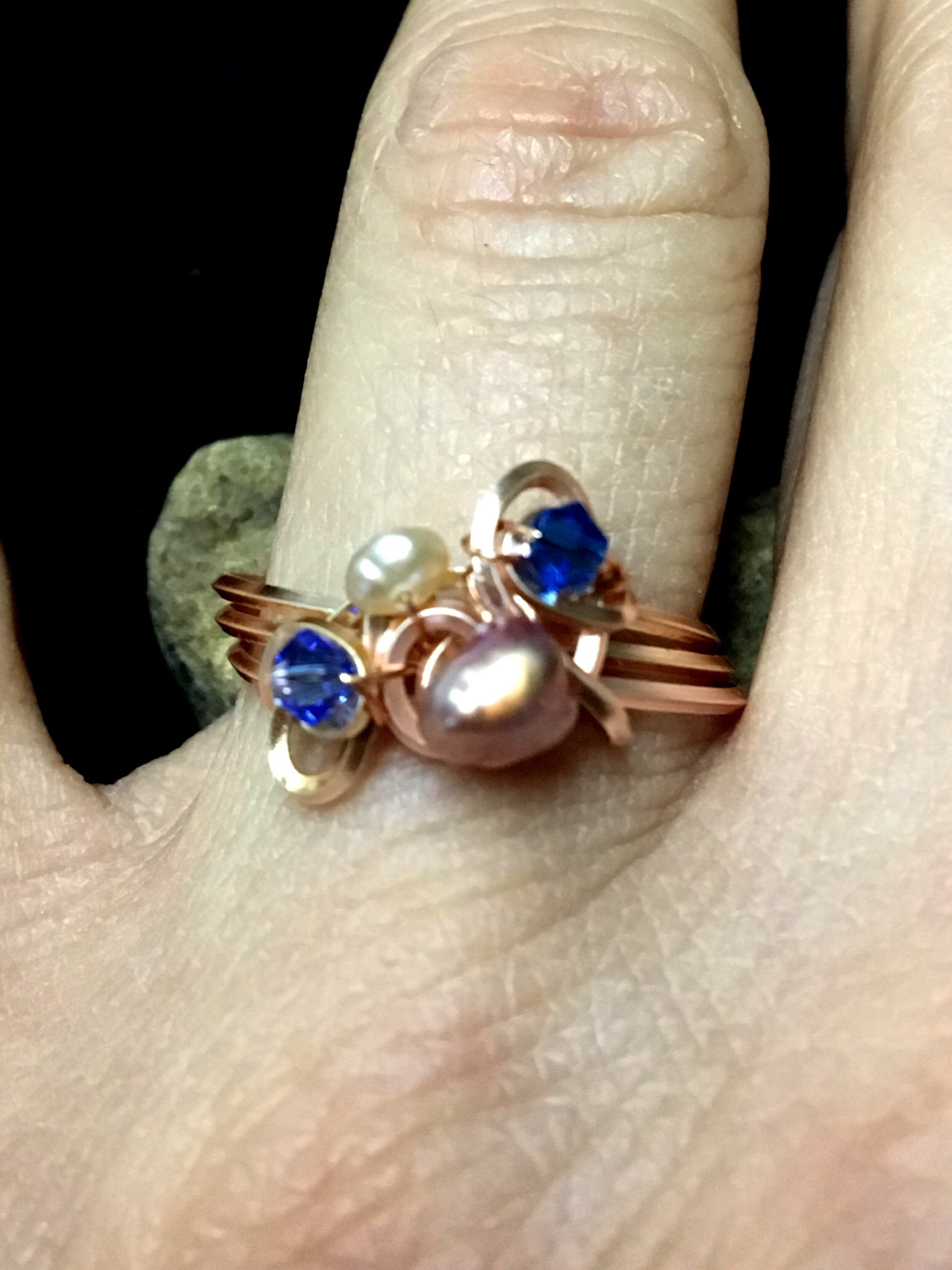 Dainty Deva Ring on finger - pink pearls and swarovsky - Silver Plated Rose gold Color.