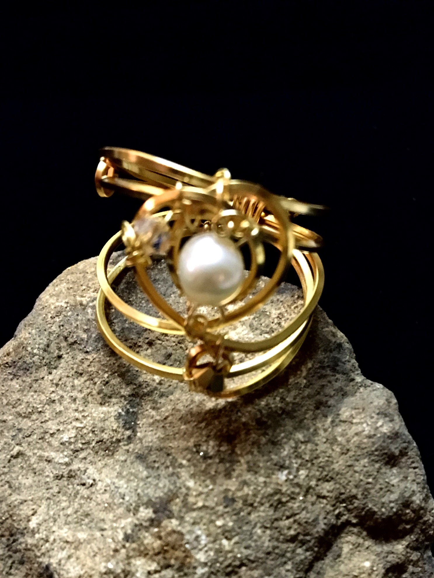 Dainty DEva Ring - Pearl - Silver Plated Gold Color