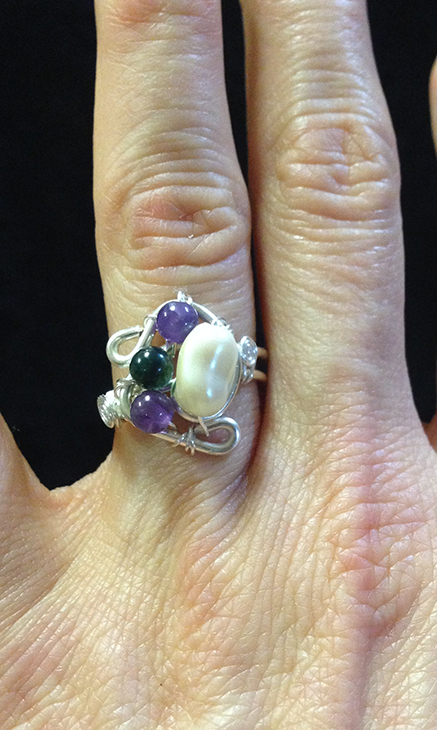 2014 Silver plated copper ring with river pearl and amethysts