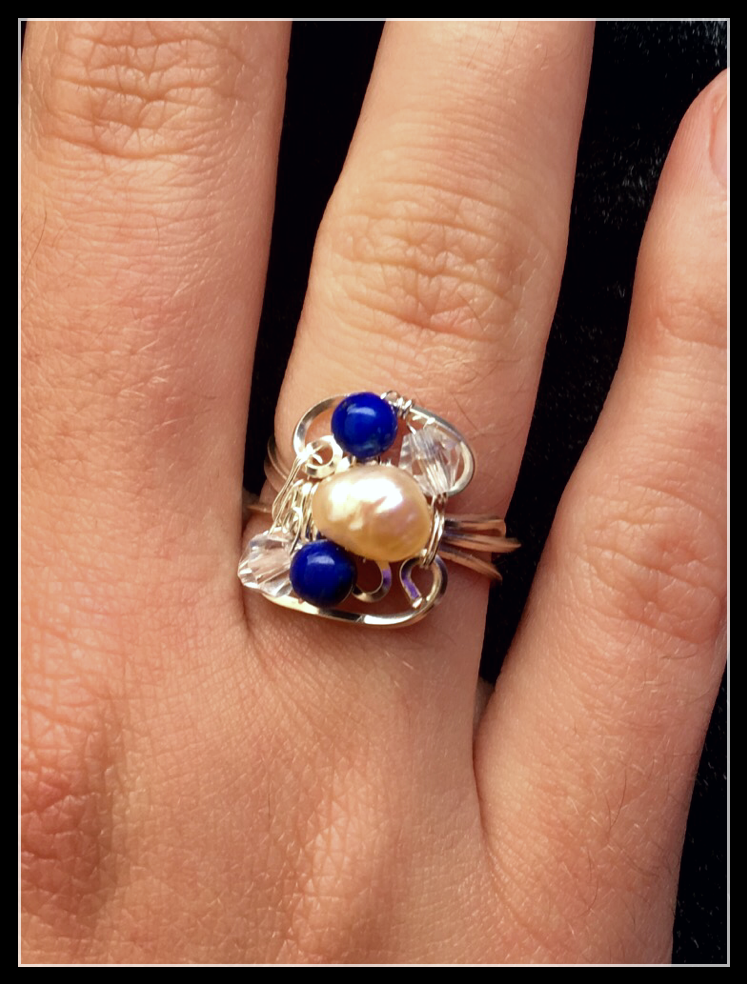 Dainty Deva Ring - PEarls and crystals - Silver Plated Gold Color