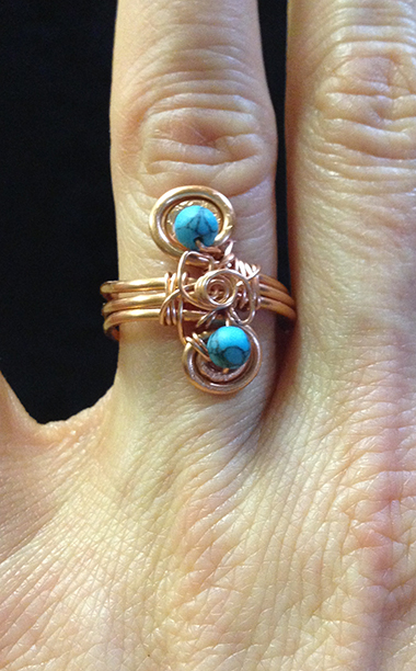 2014 Copper ring with blue beads