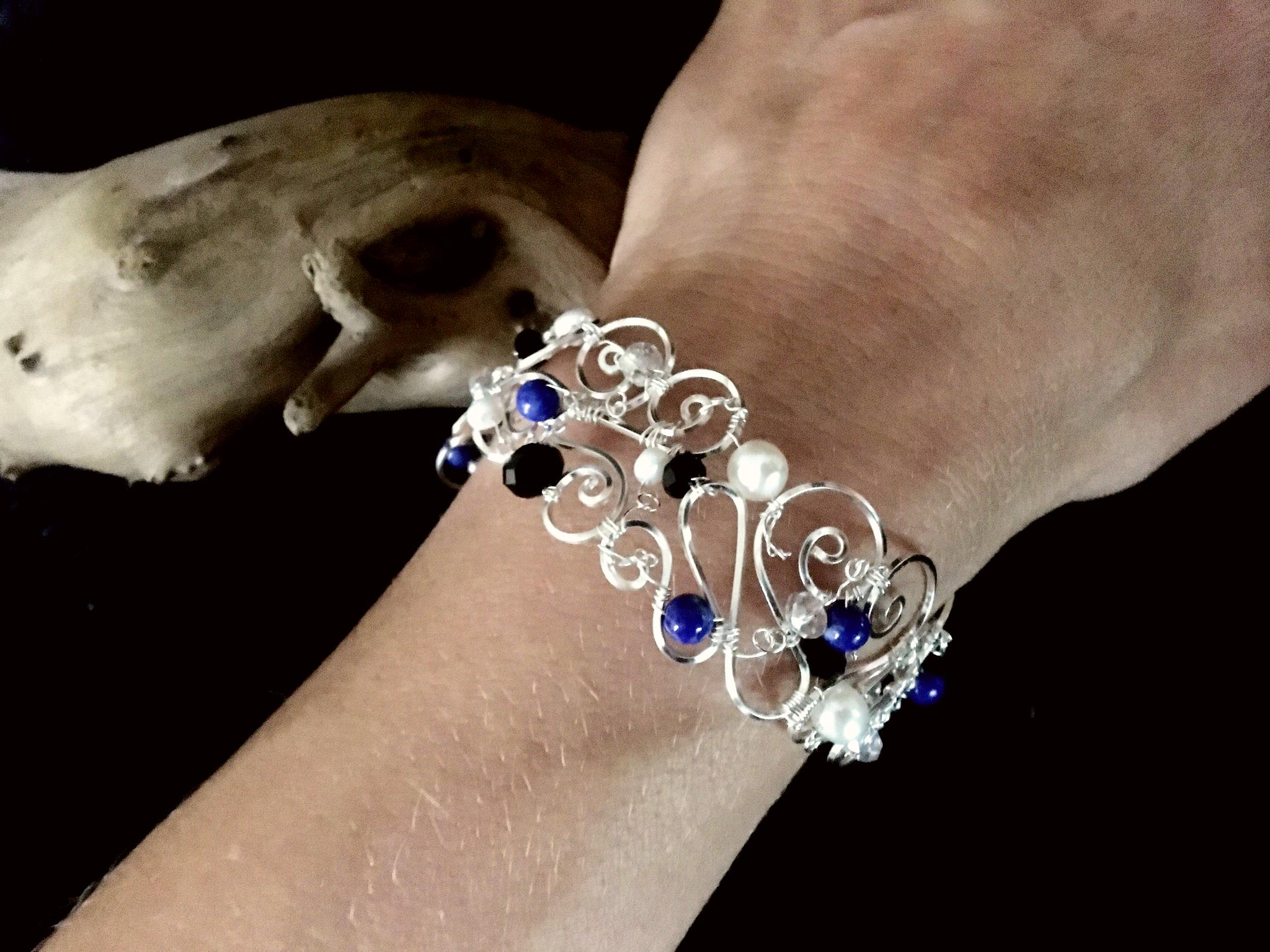Dainty Deva Bracelet on Hand - Pearls and Lapis Lazuli - Silver Plated