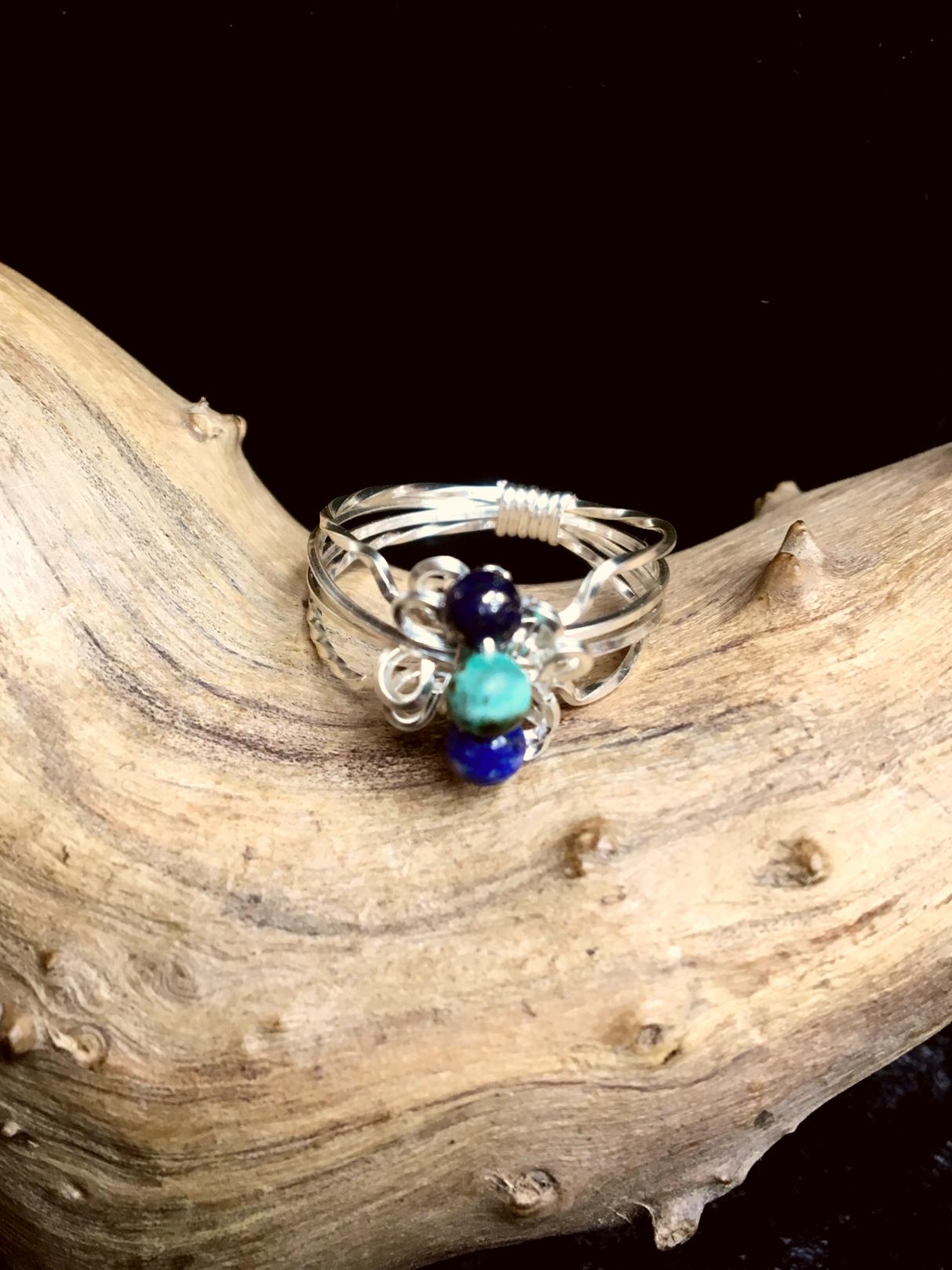 Qhresnna Quartz Ring - Lapis Lazuli and Turquoise - Silver Plated
