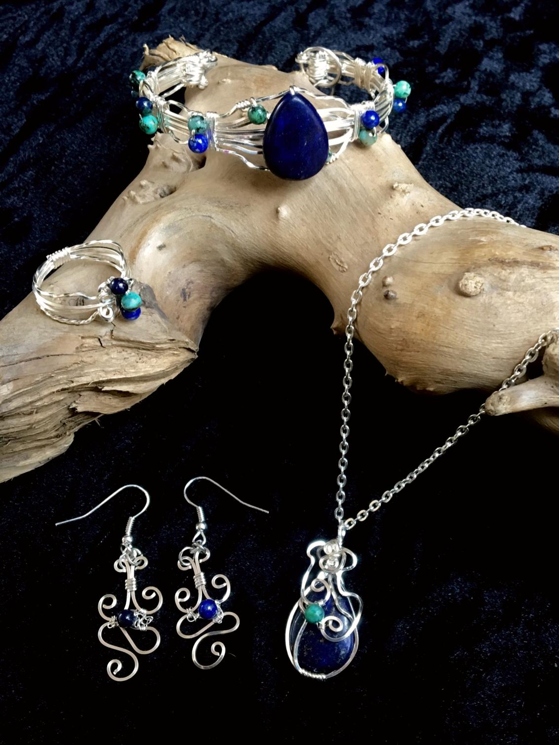 Qhresnna Quartz Set - Lapis Lazuli and Turquoise- Silver Plated