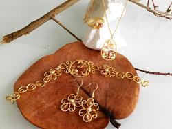 Dainty Deva Set - Goldfilled Leaves - Silver Plated Gold Color-