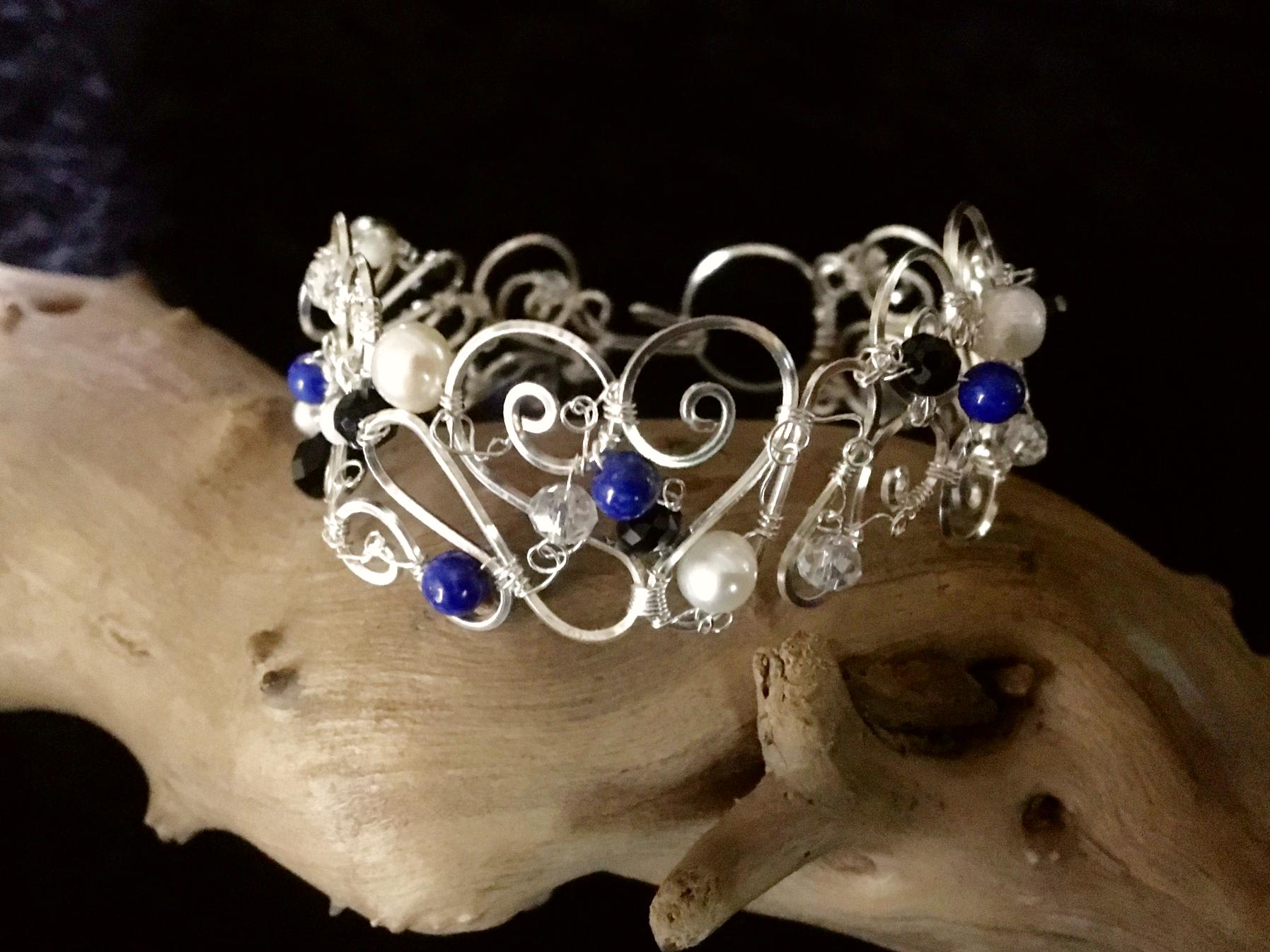 Dainty Deva Bracelet - Pearls and Lapis Lazuli  - Silver Plated