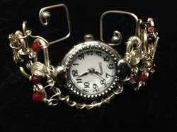 2014 Silver plated copper watch with beads