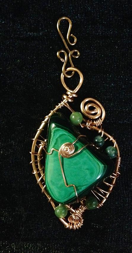 2014 Malachite and copper pendant