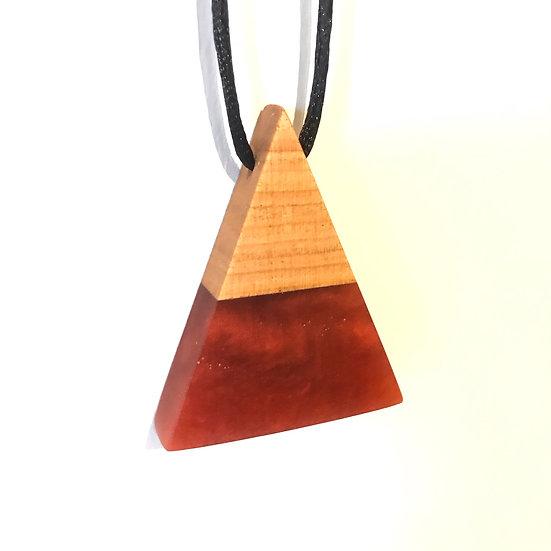 Pyramid Wine Wood Necklace