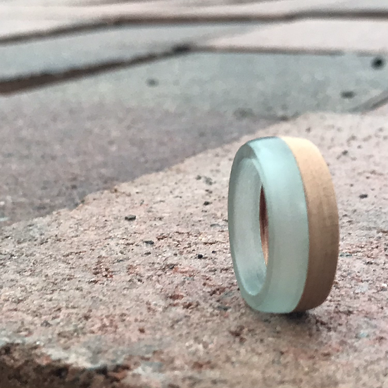 Turquoise Wood Ring Horizontal