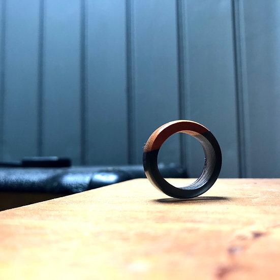 Cherrywood + Black Resin Ring