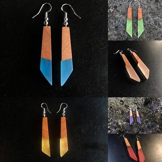 Shard Earrings - Solid Wood + Resin