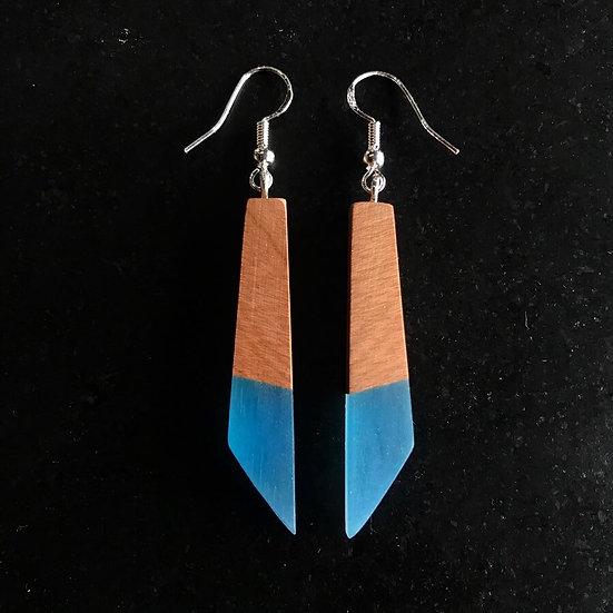 Blue resin + Wood Earring set