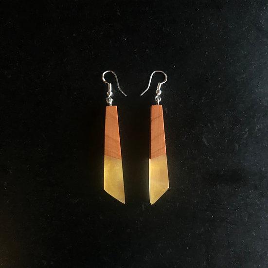 Gold Resin + Wood Earrings