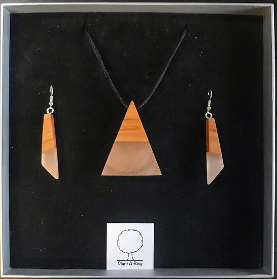 Rose Gold Earring and Pyramid Necklace Gift Box