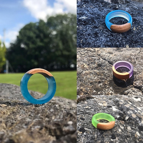 Wood + Resin Handcrafted Ring
