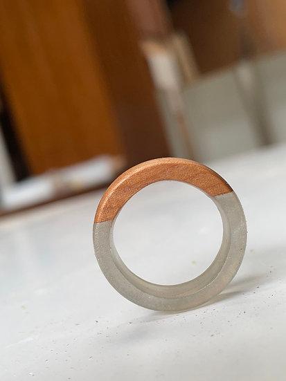 Cherrywood + Silver Resin Ring
