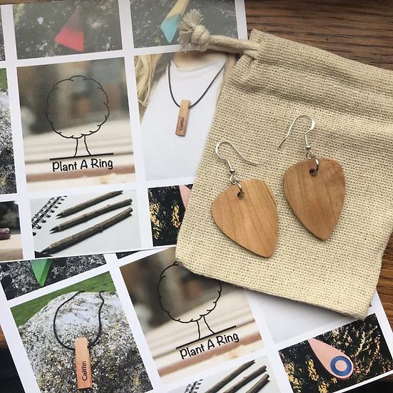 Wooden Guitar Pick Earrings