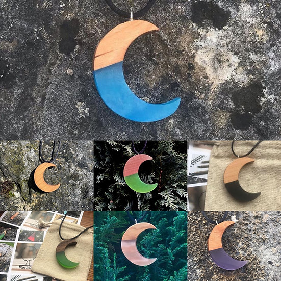 Handcrafted Wooden Moon Pendant