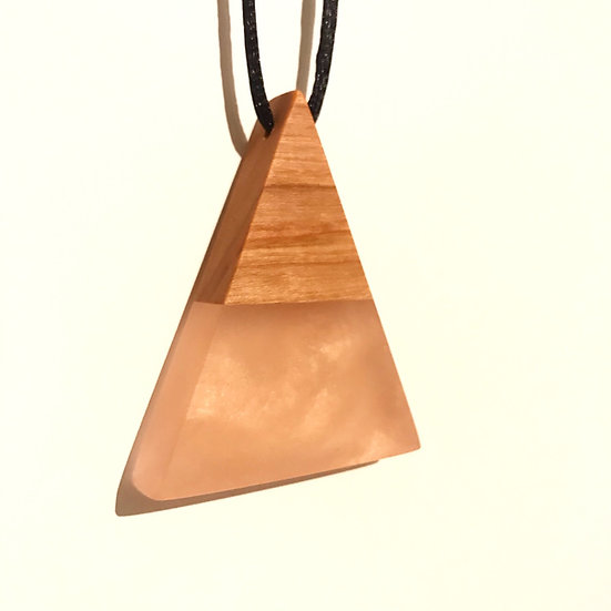Rose Gold Pyramid Necklace with Reclaimed Cherrywood