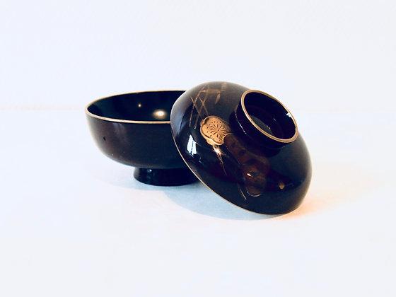 Antique Lacquer Bowl With Lid - Bol laqué avec couvercle