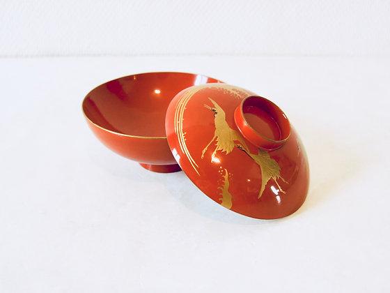 Vintage Lacquer Bowl With Lid - Bol laqué avec couvercle