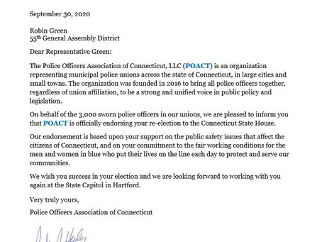 Robin Green Receives Endorsement from Police Officers Association of Connecticut