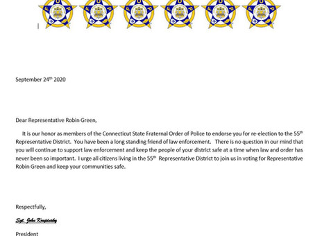 State Representative Green Receives Endorsement from Connecticut State Fraternal Order of Police