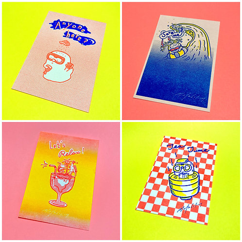 【 Metabolism EP Release Show 吉祥物「咕嚕咕嚕」】紀念品 一套四張 Postcards