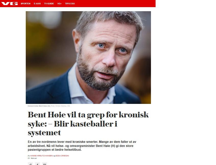 Bilde av Bent Høie i VG 21.februar 2020