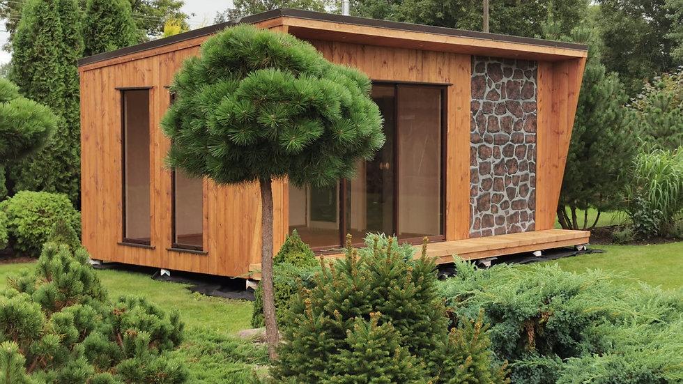 Elektrische Außen Sauna mit Vorraum & Steinfront