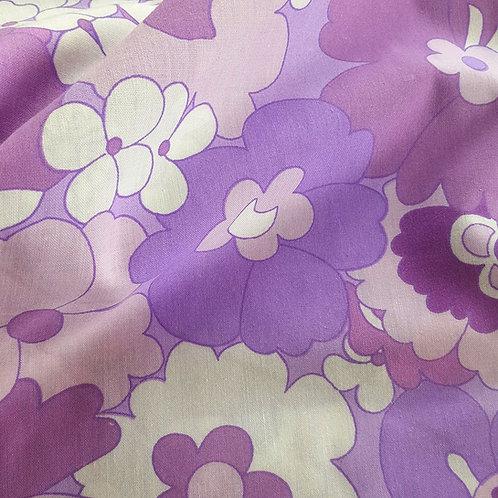 Mask + Headband - Purple flower Fabric