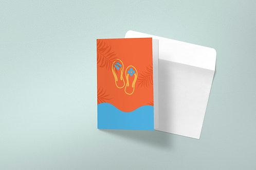 Summer greeting card-beach