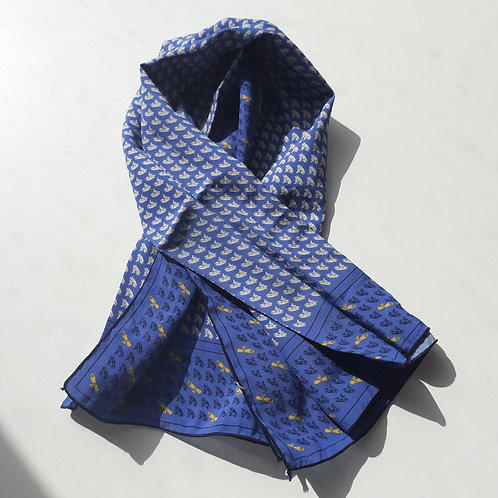 Patterns on blue Scarf