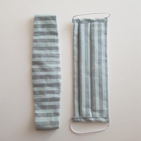 Mask + Headband - Green Stripes