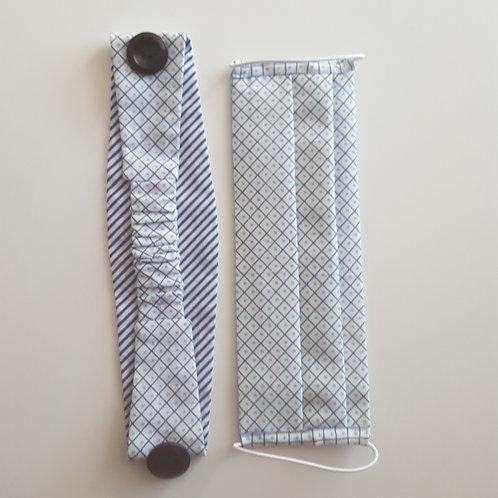 Mask + Headband - White/Blue